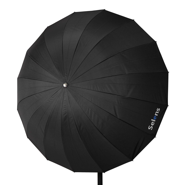 Selens 65 Inch 16 Rods Professional Photography Photo Studio Parabolic Reflective Lighting Umbrella, 23 Inch Depth Black/Silver by Selens (Image #3)