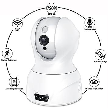 Aoleca IP WiFi Cámara Video Vigilancia IR Vision Nocturna 720P HD Inalámbricas Cloud Cámara con Detección de Movimientos/ Micrófono y Altavoz/ Audio ...