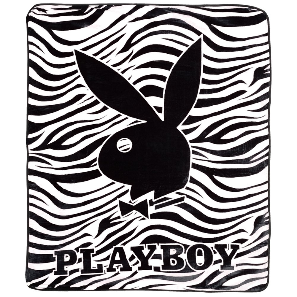 Black Zebra PlayBoy Plush Blanket - PLAYBOY Comforter