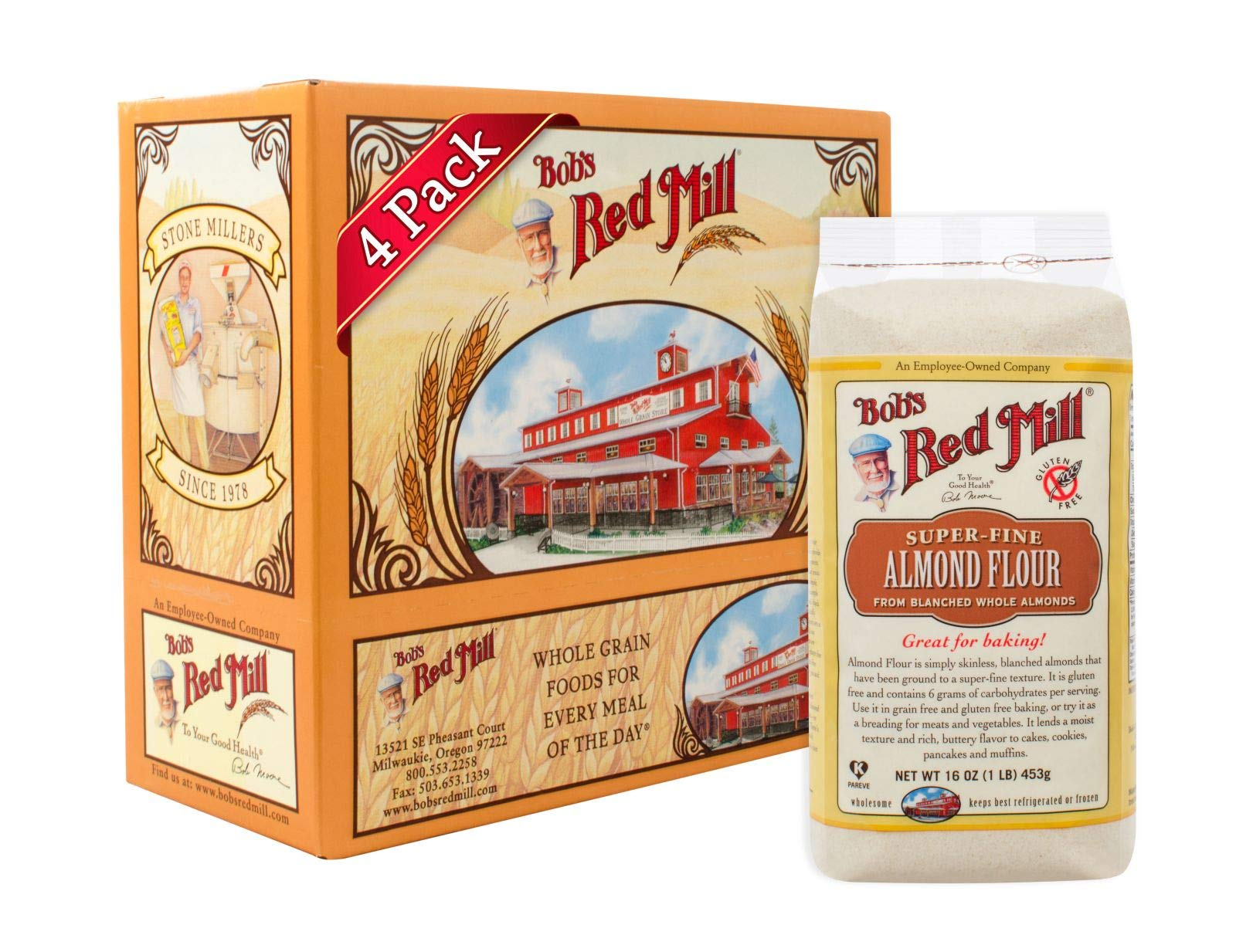 Bob's Red Mill Super-Fine Almond Flour, 16 Oz (4 Pack) by Bob's Red Mill
