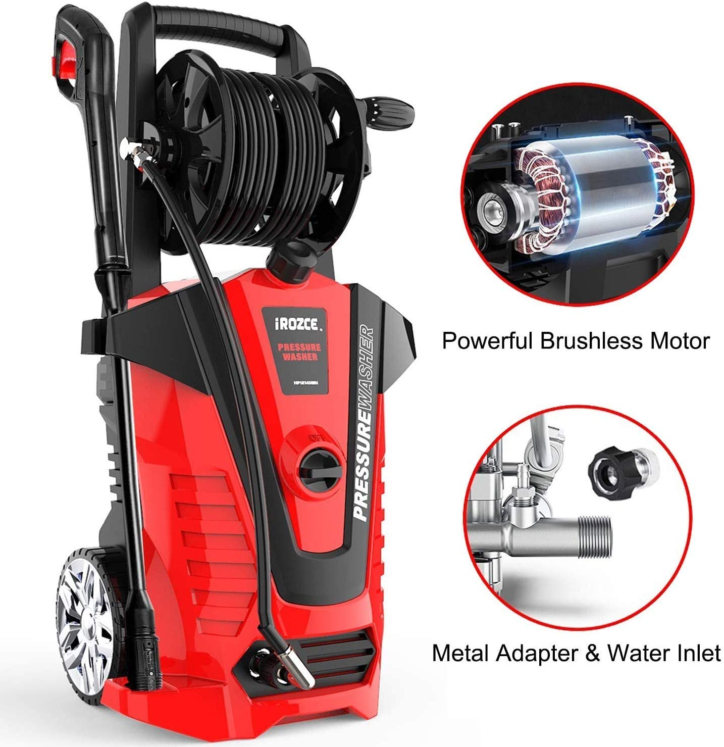 iRozce High Pressure Washers, 3045PSI 2.3GPM Max Electric Power Washer with Hose Reel/Adjustable Nozzles/On-Board Detergent Tank for Concrete, Deck, Patio Furniture, Car Washing