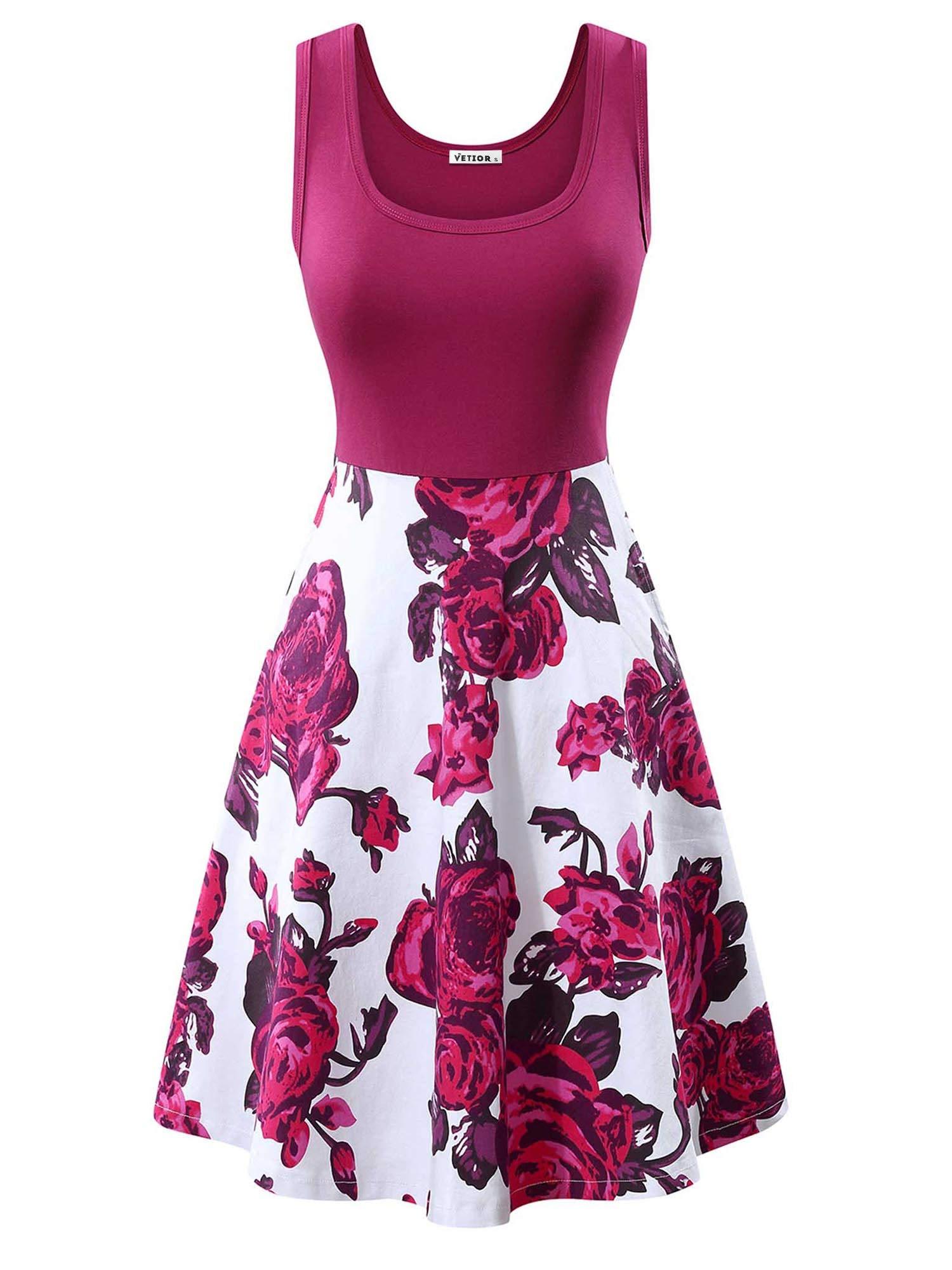 Vintage Scoop Neck Dress Sleeveless Midi Dress with Pockets VETIOR Flared Tank Dress