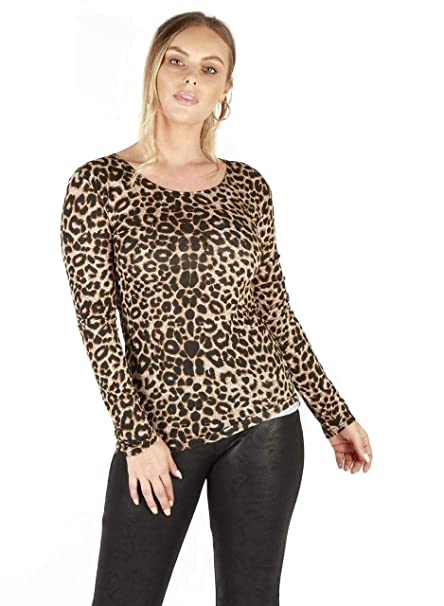 New Ladies Long Sleeve T Shirt Animal Print Basic Plain Zebra Aztec Tartan 8-26
