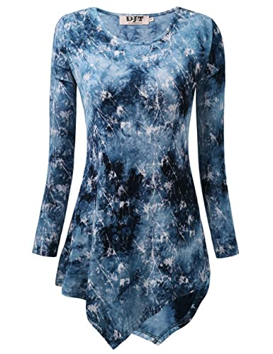 DJT Mujeres Asimetrica Camisa Blusa de Manga Larga Estilo Elastico Tunic Shirt tee