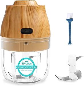 Garlic Chopper,Wireless Portable Garlic Mincer,Food Processor with 3 Blades,250ml Vegetable Chopper,Electric Mini Meat Grinder,Ginger Chili Blender Mixer(2 sets of blades)