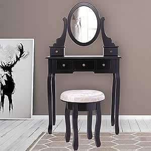 Amazon.com: Black Makeup Vanity Table Set w/Stool &Five ...