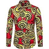 Coersd Men Casual Printing Vintage Slim Long Sleeve Dress Shirt Blouse Tops