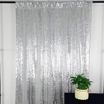 Hemiaor 5ftx7ft Party Pailletten Hintergrund Silber Funkelnde Fotografie Pailletten Vorhang Hintergrund Party Dekoration Küche Haushalt