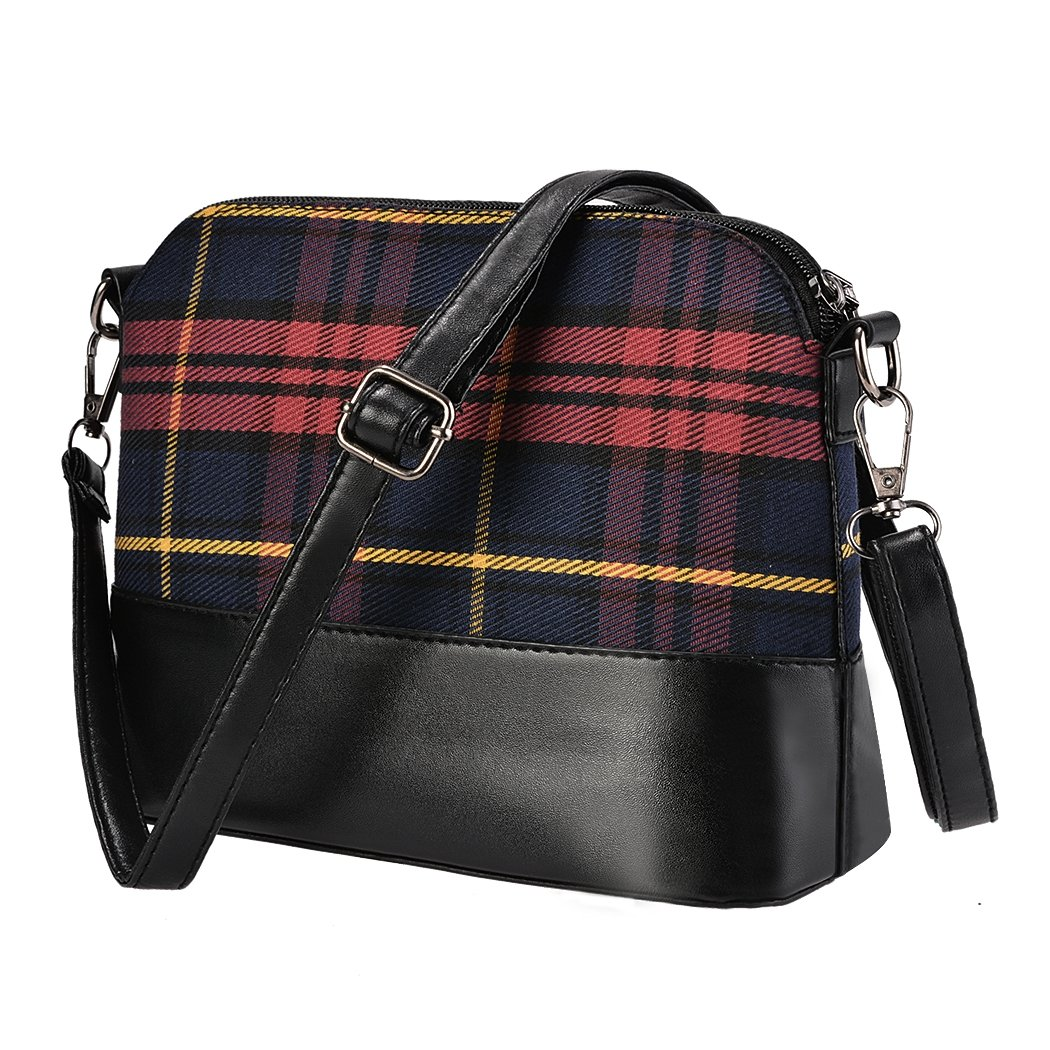 Women Synthetic Leather Plaid Shoulder Bag Cross Body Messenger Bag 4 Colors (9.0 x 7.0inch, Wine Red) by Jingjing1 (Image #2)