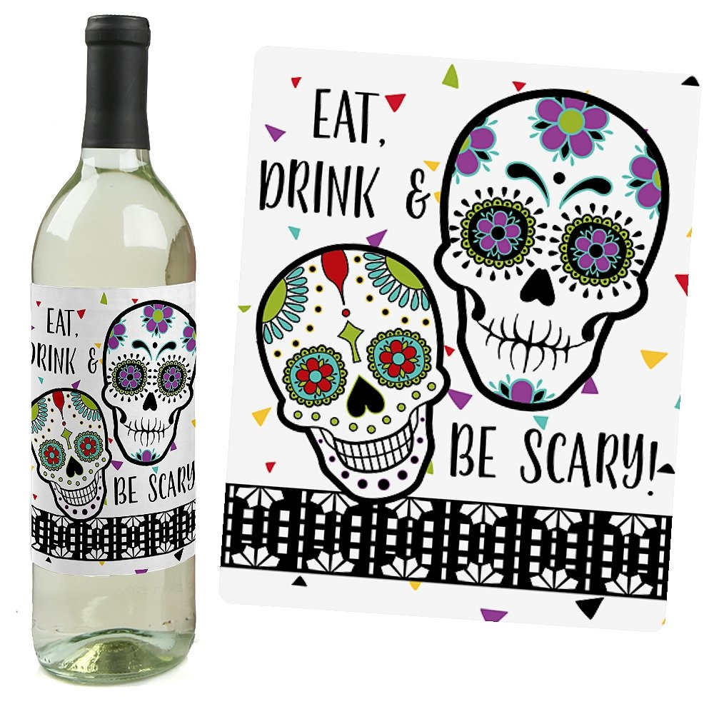 Amazon.com: Day Of The Dead - Halloween Sugar Skull Wine Bottle ...