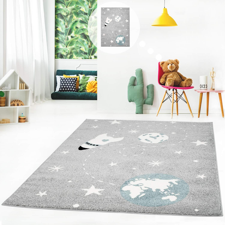 MyShop24h Kinderteppich Teppich Kinderzimmerteppich Kinderzimmerteppich Kinderzimmerteppich Spielteppich Sternen-Teppich Flachflor Weltall Erde Mond Rakete Sterne Grau, Größe in cm 160 x 225 cm B07P8V157C Teppiche & Lufer 123137