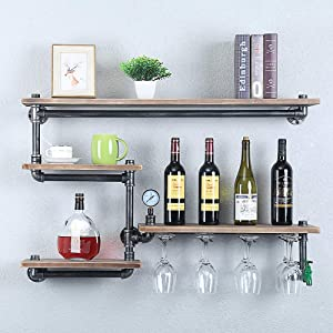Industrial Pipe Shelf Wine Racks with 4 Stem Glass Holder,39.37in Rustic Metal Floating Bar Shelves Wall Mounted,Steampunk Pipe Shelving Wood Shelves,Farmhouse Wall Shelf Kitchen Wine Holder
