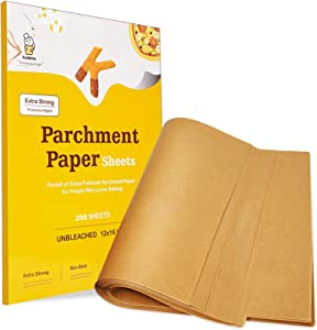Katbite 200PCS 12x16 In Heavy Duty Unbleached Parchment Paper, Parchment Paper Sheets for Baking Cookies, Cooking, Air Fryer, Grilling Rack, Oven(12x16 Inch)