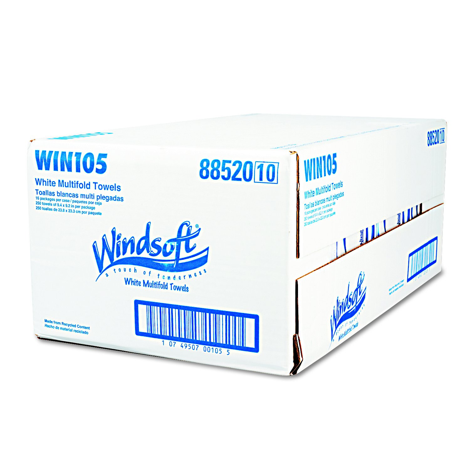 Windsoft 105 Multifold Paper Towels, 1-Ply, 9 1/5 x 9 2/5, White, 250 per Pack (Case of 16): Amazon.com: Industrial & Scientific