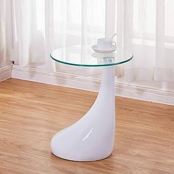 Tavolini Da Salotto In Vetro Moderni.Goldfan Tavolini Da Salotto In Vetro Rotondi Tavolino Salotto Bianco Per Ufficio Soggiorno Design Moderno Bianco Rotondo 42 42 55 Cm