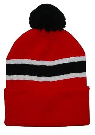 4abd5e1d280 Football Black and White Retro Style Bobble Hat Arena Scarves Black and  White Hat