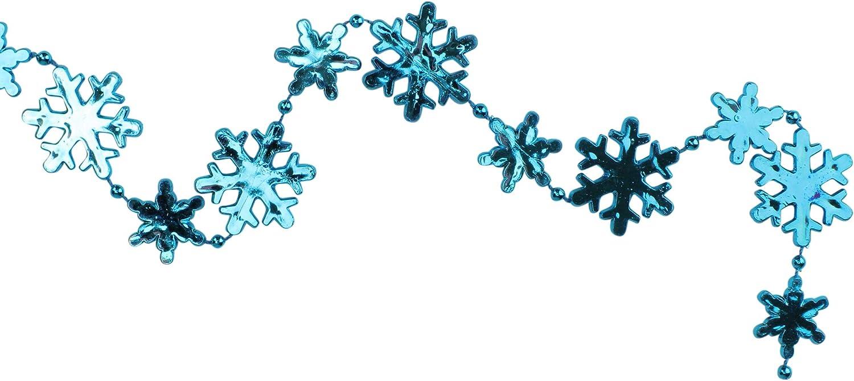 Northlight 8/' Shiny Metallic Blue Snowflake Beaded Christmas Garland
