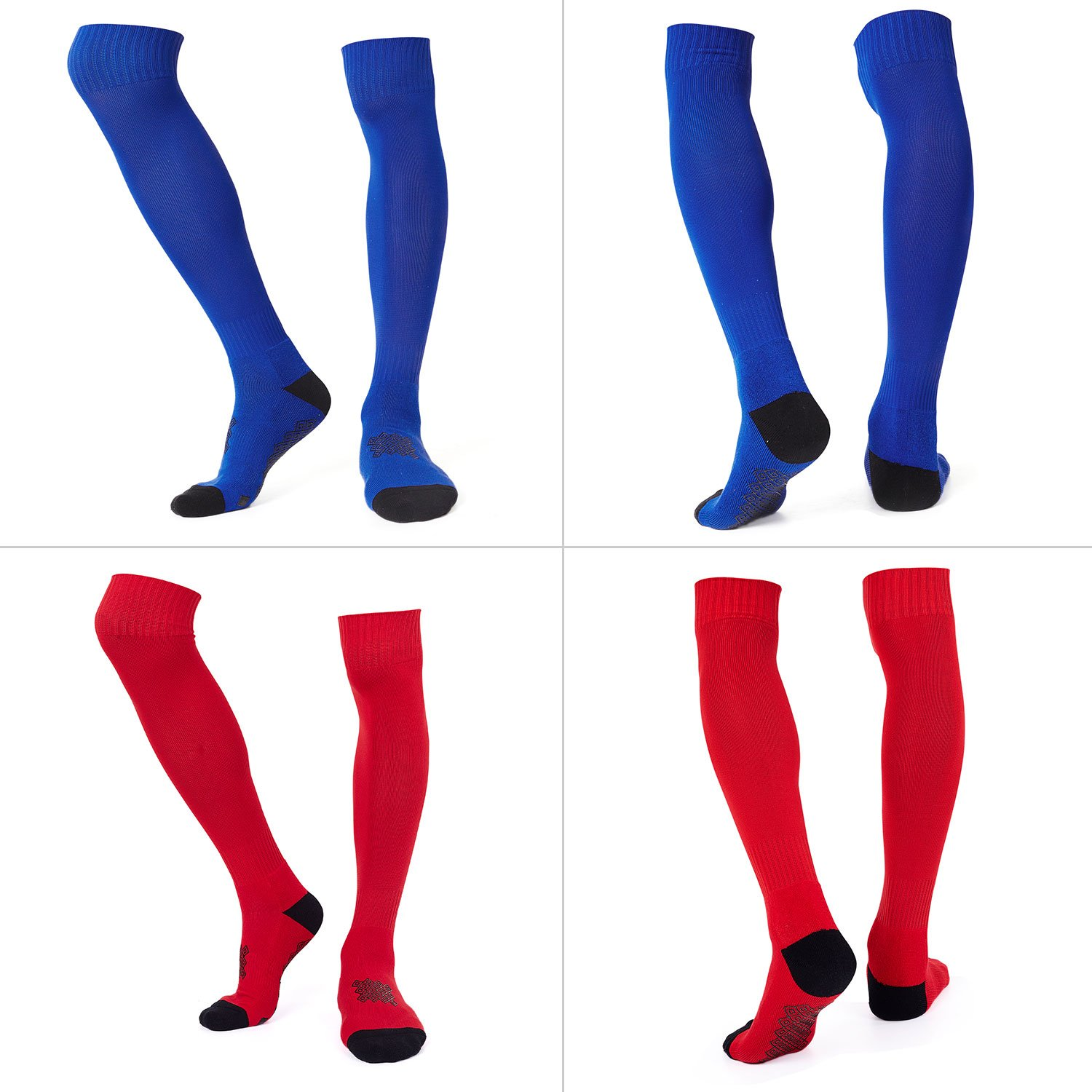 Diealles 2 Pairs Mens Cushioned Support Football Socks Kids Non Slip Long Compression Sock
