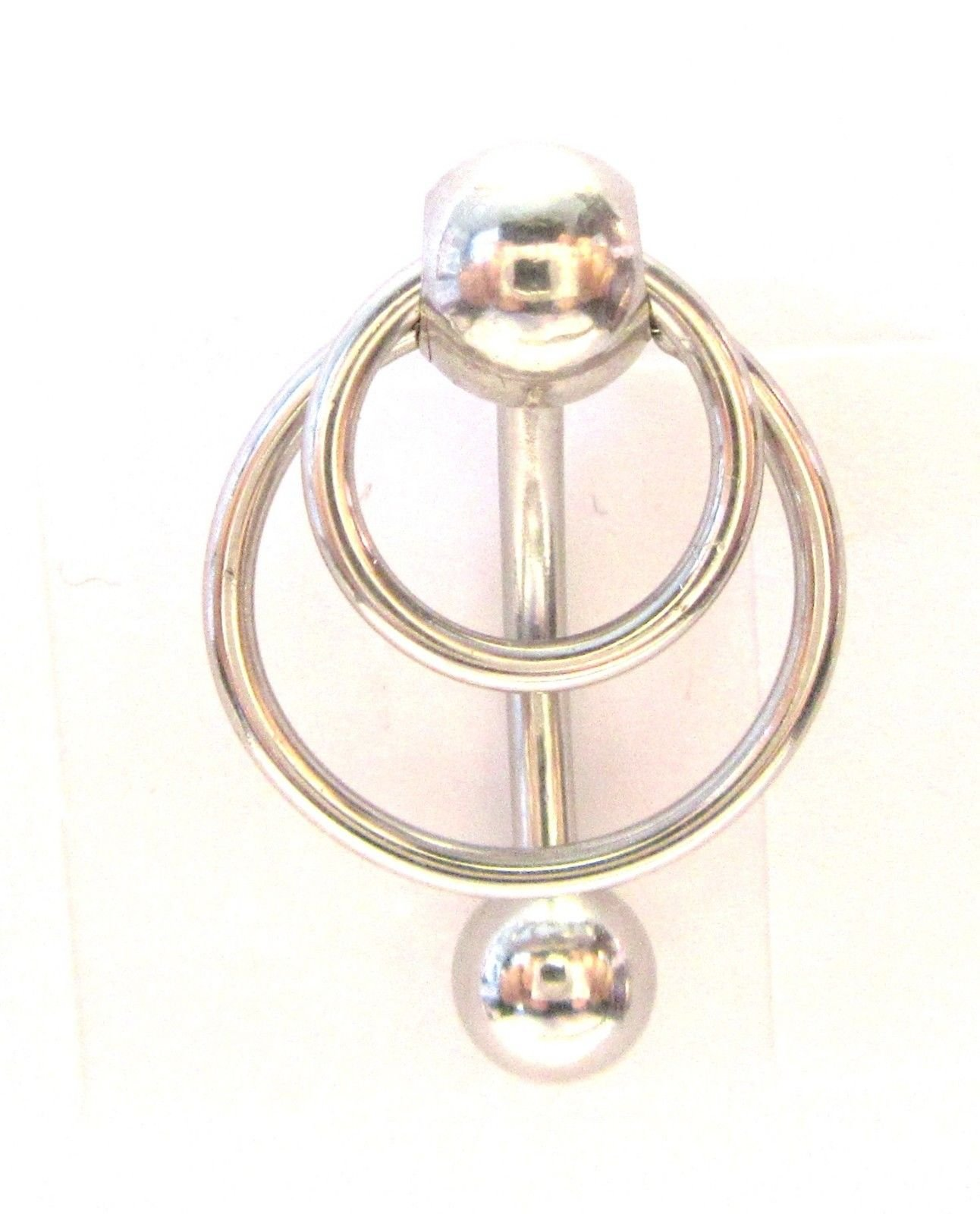 Surgical Steel Triple White Opal Dangle Hoop VCH Clit Clitoral Hood Ring 14g
