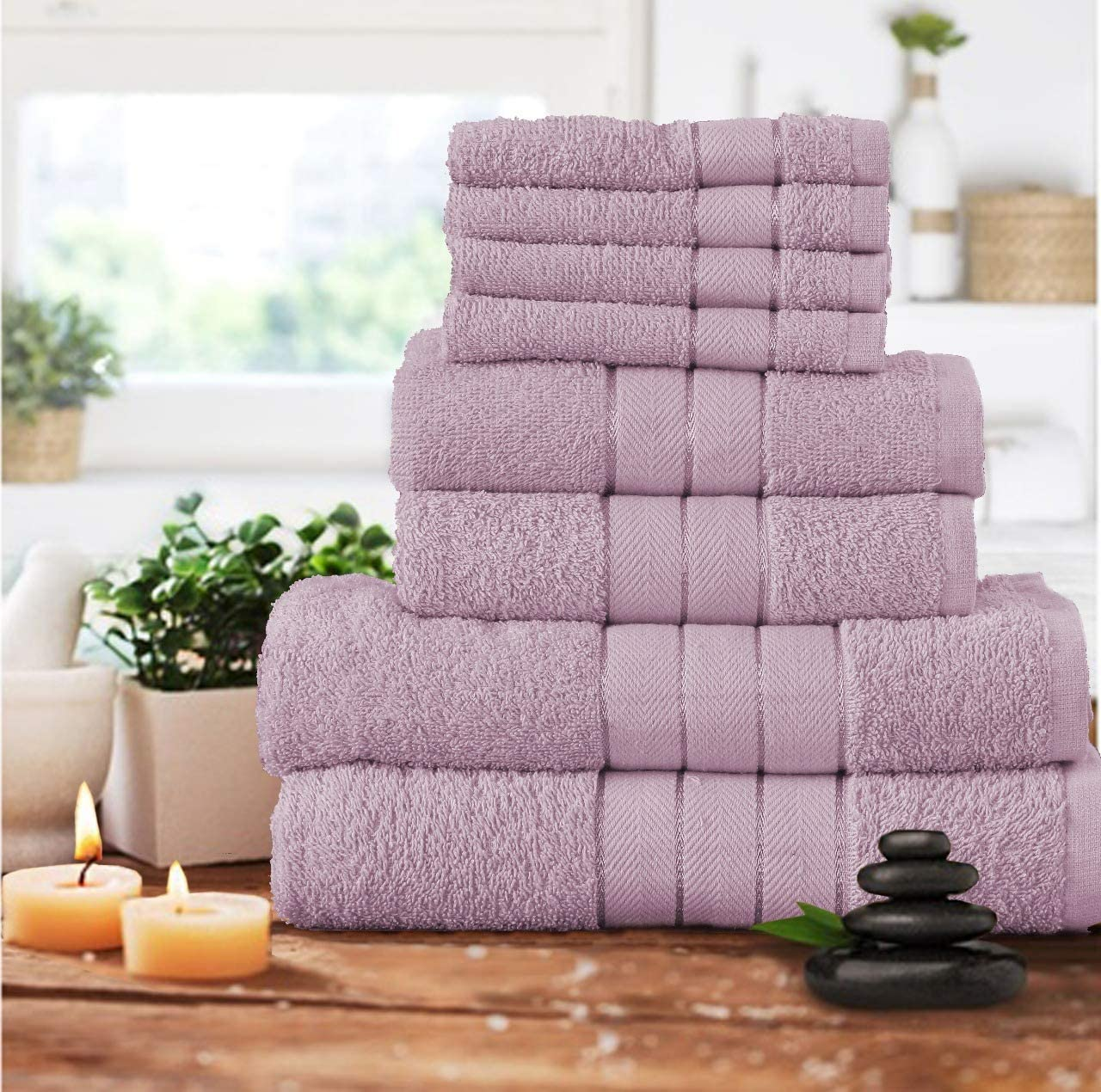 400 Gsm Shopylistic 8 Piece Manhattan Bale Towel Set Bath Towels Kitchen 100/% Cotton White 30x30 2 Bath Towel 50x80 66x115 3 Stripe Border 4 Face 2 Hand