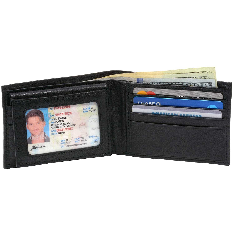 Alpine Swiss Men s 2 In 1 Bi fold Wallet & Card Case Black at Amazon