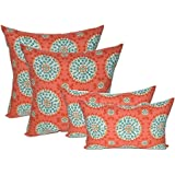 """Set of 4 Indoor / Outdoor Pillows - 17"""" Square Throw Pillows & Rectangle / Lumbar Decorative Throw Pillows - Red, Coral, Turquoise Sundial"""