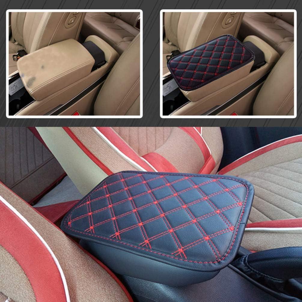 Red String Garneck Soft Leather Auto Center Console Pad Cover Car Armrest Cushion Car Armrest Mat Auto Arm Rest Seat Box Padding for Car Auto