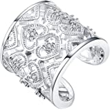 925placcato argento anello regolabile con cristalli per le donne lknspcr106