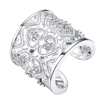 dc3892613 Women Ring Size Free 925 Silver Plated Heart-Shaped Zircon Ring for Women  (White): Amazon.co.uk: Jewellery