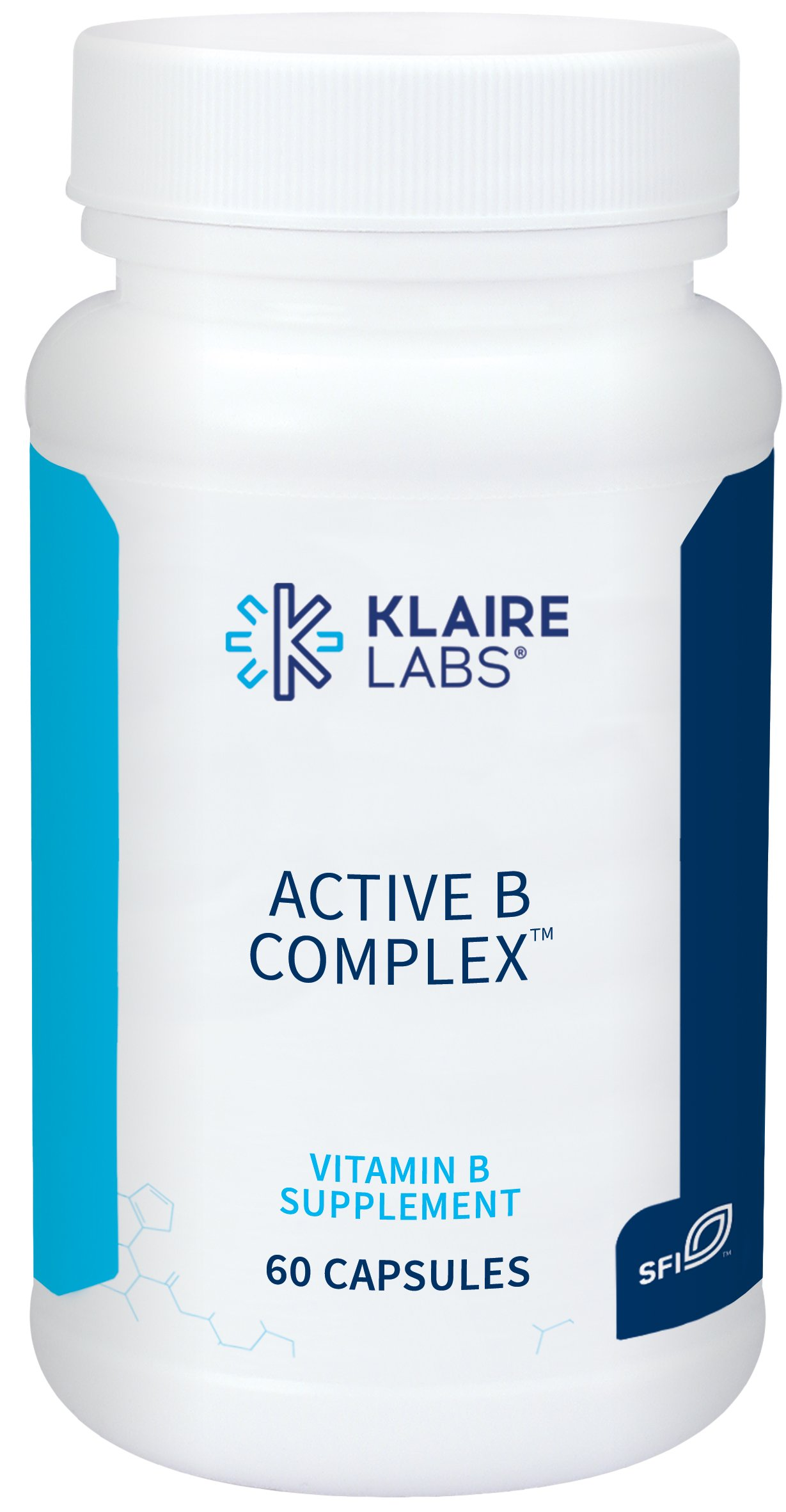 Klaire Labs Active B Complex - High Potency B Vitamins with Metafolin Folate, B12 as Methylcobalamin & B6 Benfotiamine (60 Capsules) by Klaire Labs