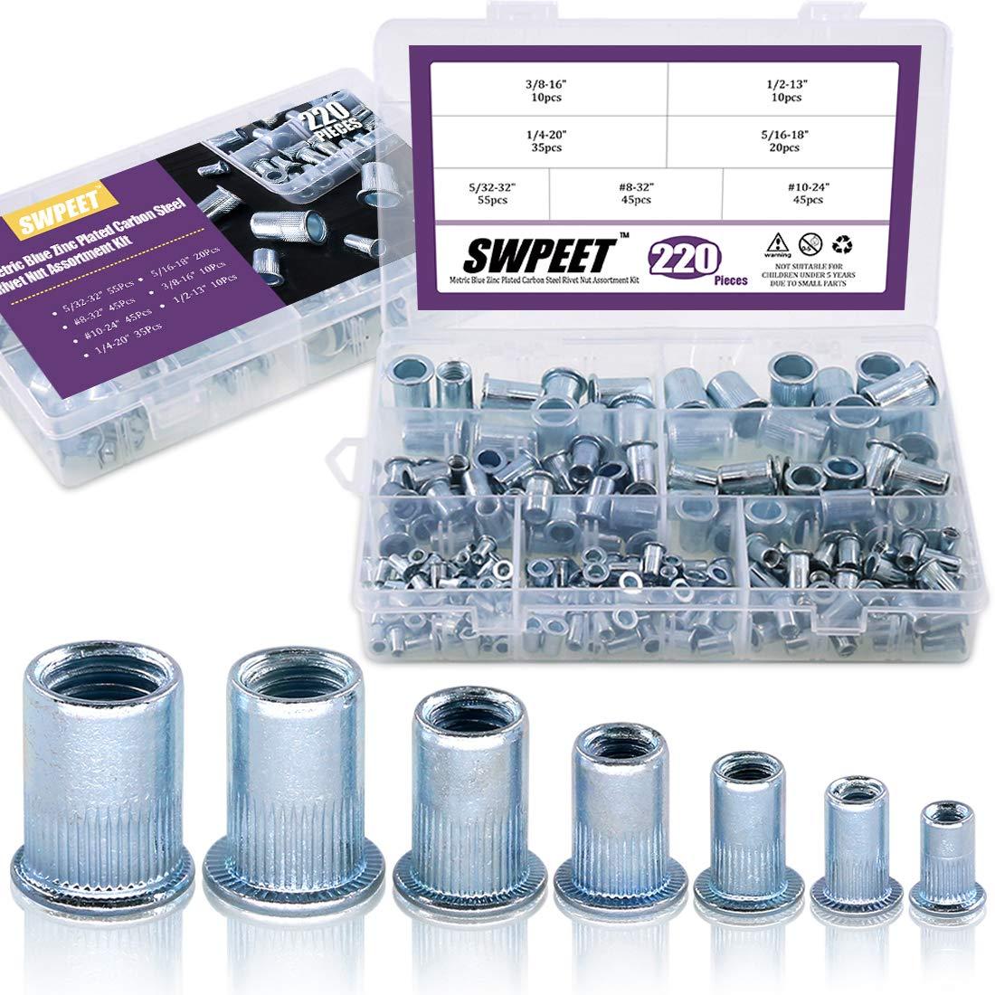 Swpeet 220Pcs 7 Sizes Imperial Zinc Plated Carbon Steel Blue White Knurled Rivet Nut Flat Head Threaded Insert Nutsert Assortment Kit