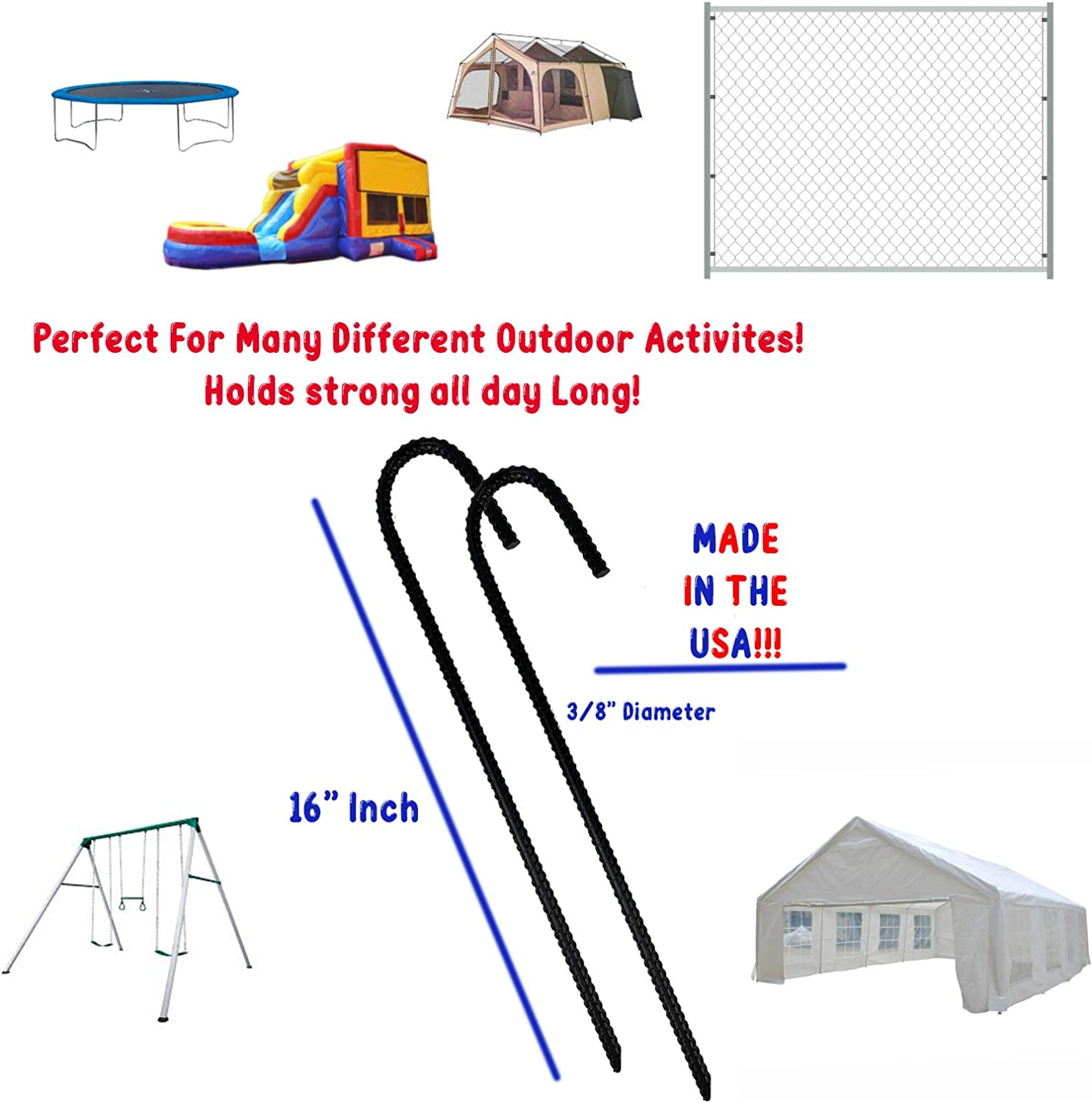 """3//4/"""" x 12/"""" Anchor Steel Stake Double Head Tent Inflatable Ground Rebar Anchor"""