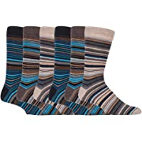 Sock Snob - 6 Pack Mens Thin Stripe Patterned Cotton Rich Business Dress Socks