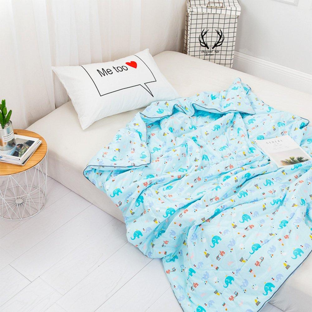 YOHA Kids Summer Comforter Thin Quilt Throw Blanket Boys Girls Cute Cartoon Quilt Cotton Soft Kids Room Bedding Quilt Coverlet(Elephant,Twin 59''x78'')