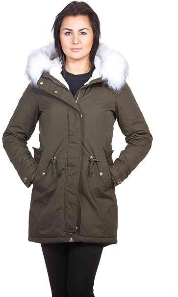 Parka para mujer, abrigo con pelo sintético, capucha y piel, trenca verde/blanco L : Amazon.es: Ropa y accesorios