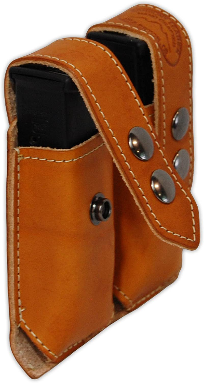 Barsony neu Saddle Tan Leather Double Magazine Pouch für Compact 9Mm 40 45