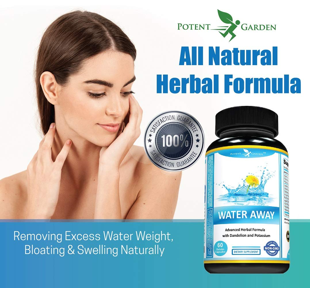 Water Pills That Work | Water Away Natural Herbal Supplements ǀ 60 Capsules ǀ Herbal Formula with Dandelion and Potassium Chloride ǀ Diuretic Detox for Weight Loss ǀ Anti-Bloating and Water Retention by Potent Garden (Image #4)