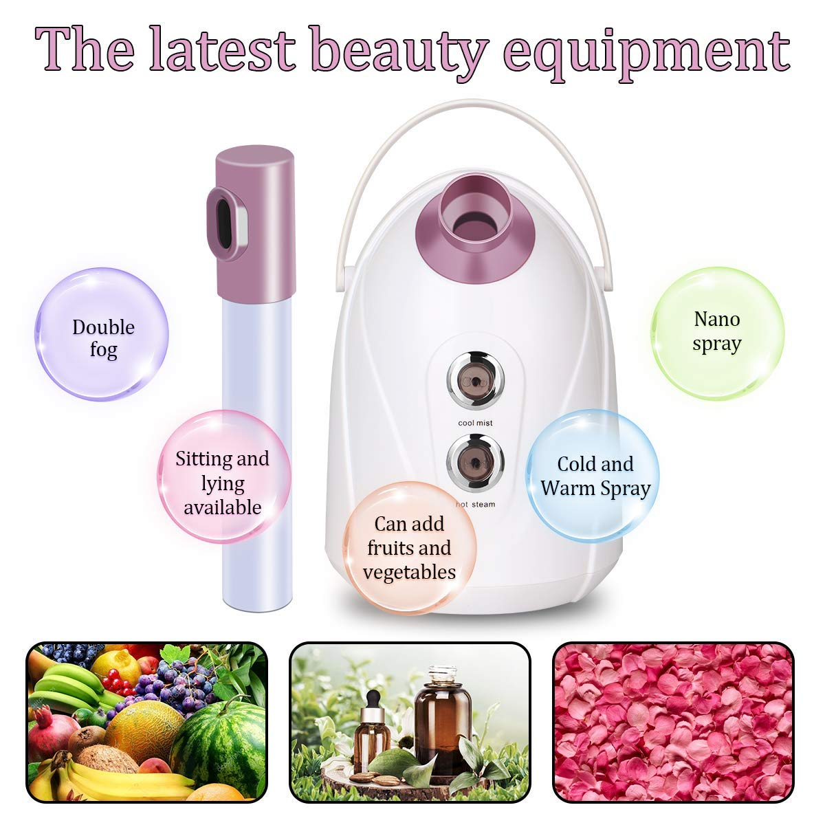 Facial Steamer,Nano Ionic Face Steamer Hot Cool Warm Mist Humidifier Face Moisturizing Machine Auto Off 360 Rotatable Arm For Personal Care Home: Beauty