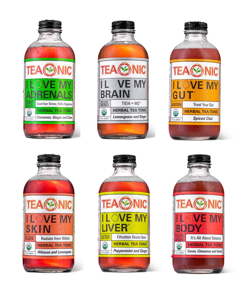 Teaonic Herbal Tea, Organic, Natural, Caffeine-Free, Handcrafted Brewed Unsweetened, Variety 12-Pack | Adrenal, Brain, Gut, Liver, Skin, Body
