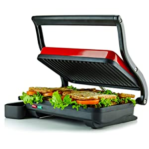 Ovente 2-Slice Electric Panini Press Grill and Gourmet Sandwich Maker with Auto Shut-Off, Drip Tray Included, Red (GP0620R)