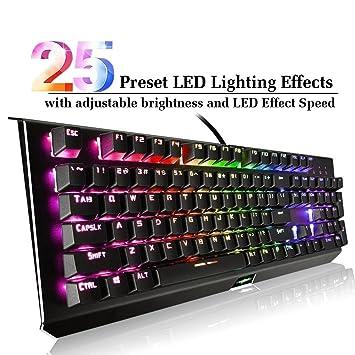 Teclado mecánico con interruptores Azules, Teclado RGB para Juegos con 25 Efectos de iluminación predefinidos y Personalizables para Juegos de PC y Mac.
