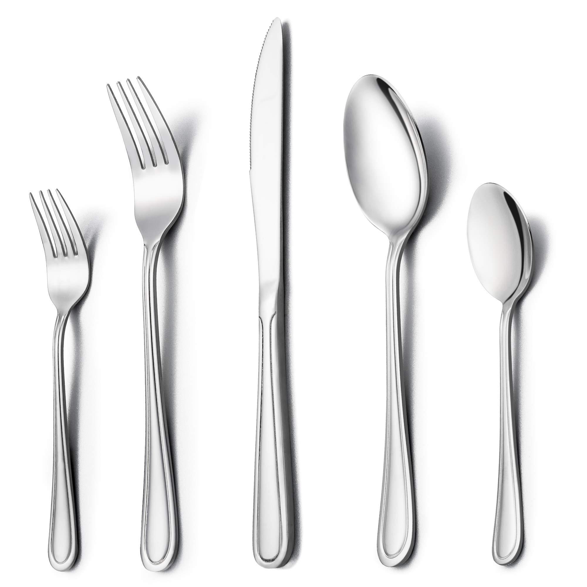 LIANYU 20-Piece Silverware Set, Stainless Steel Flatware Utensil Set for Home Kitchen Restaurant Hotel, Dishwasher Safe - Service for 4