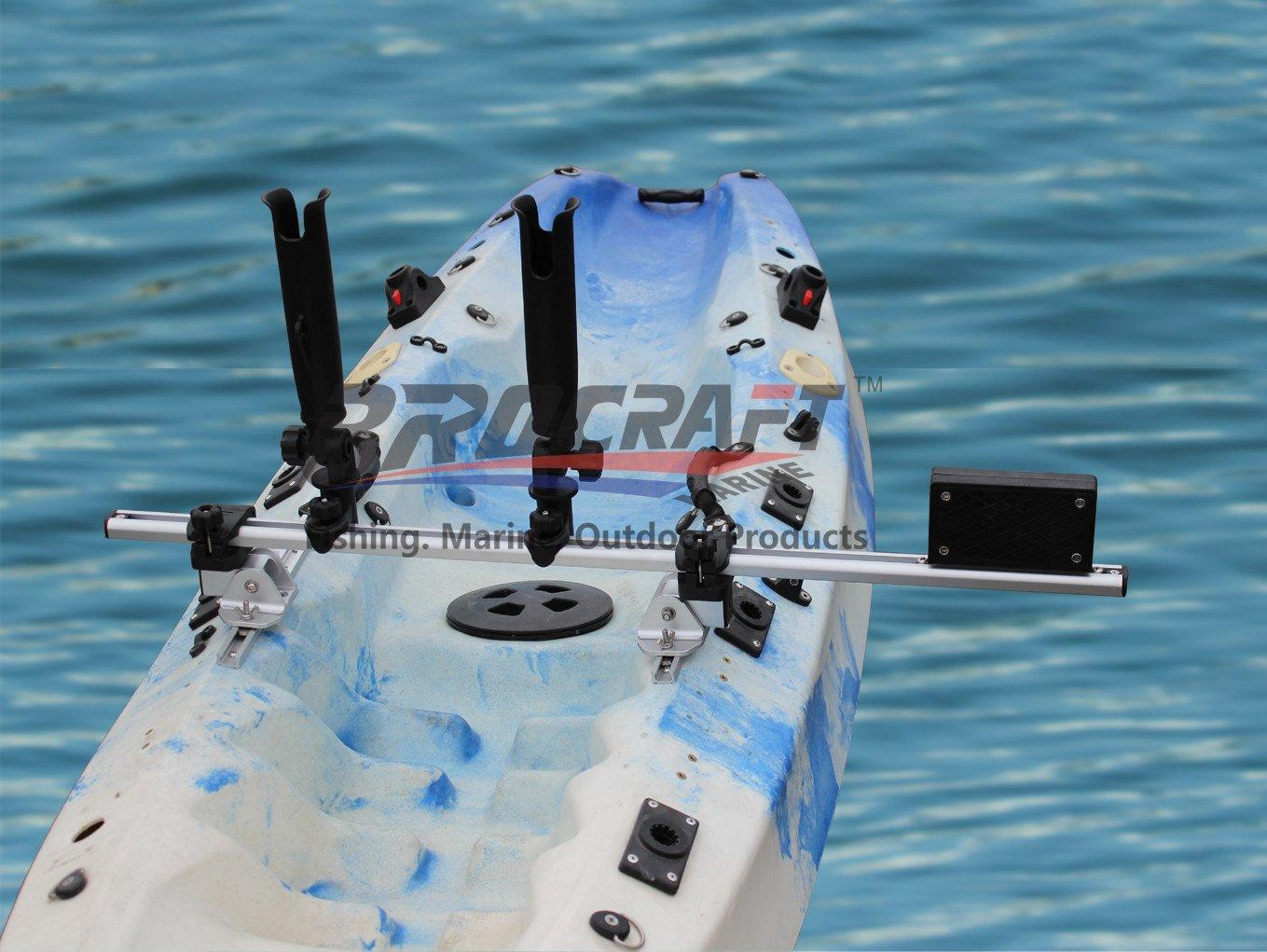 Brocraft Kayak Trolling Motor Mount For Track + Two Rocket Launcher rod holder by Brocraft