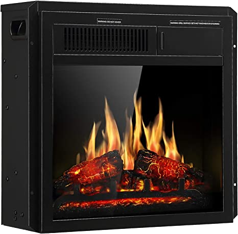 Jamfly Electric Fireplace Insert 18 Freestanding Heater With 7 Log Hearth Flame Settings And Remote Control 1500w Black Home Kitchen