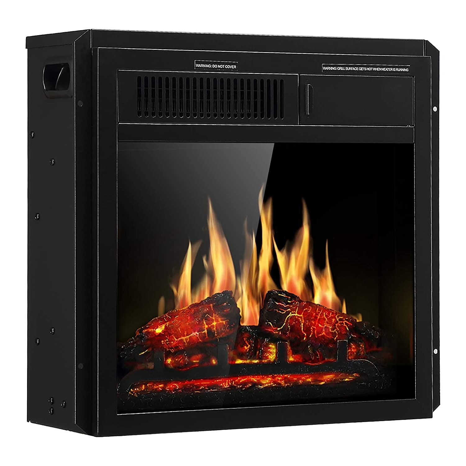 JAMFLY Electric Fireplace Insert 18-inch Freestanding Heater with 7 Log Hearth Flame Settings and Remote Control,1500w,Black