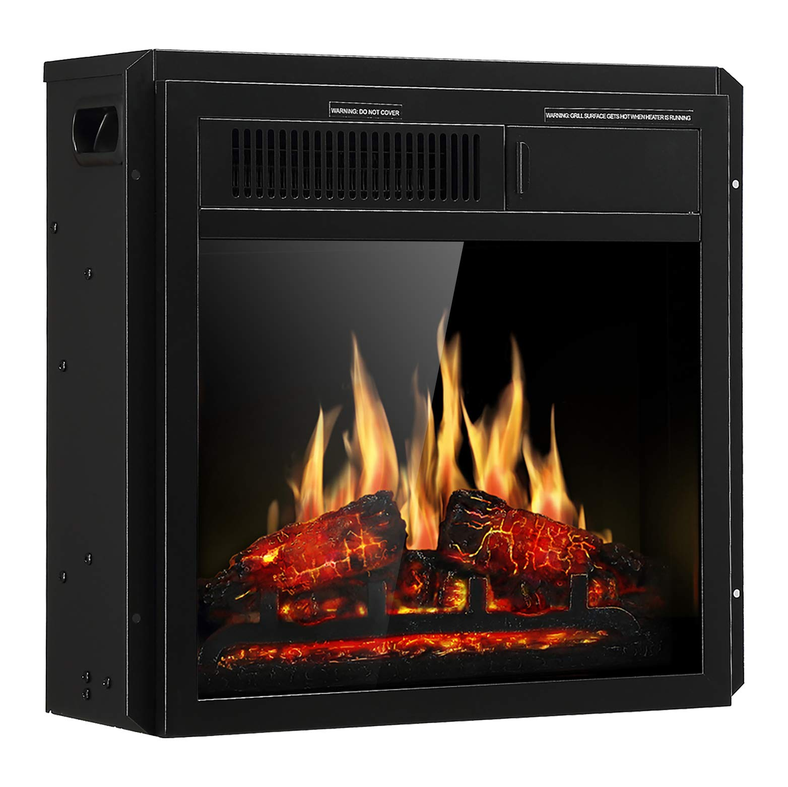 JAMFLY Electric Fireplace Insert 18'' Freestanding Heater with 7 Log Hearth Flame Settings and Remote Control,1500w,Black by JAMFLY