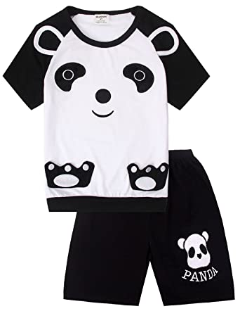 Dizoon Summer Toddler Girls Short Sleeve Panda Pajamas Set Little Children  Clothes Kids Sleepwear 100% Cotton 2 Piece  Amazon.ca  Clothing    Accessories 58c3fab7f158