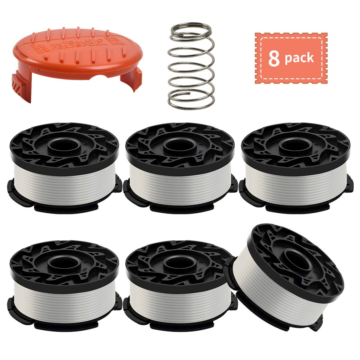 Black and Decker AF-100 Weed Eater Spool,30 Feet/0.065 Inches Line String Trimmer Autofeed System Replacement Spool (6 Spool,1 Cap,1 Spring) by Generic