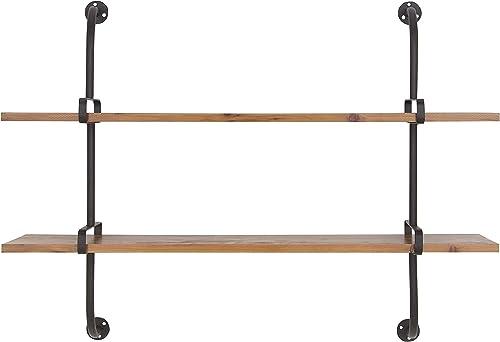 Deco 79 58639 Wall Shelf, Brown Black