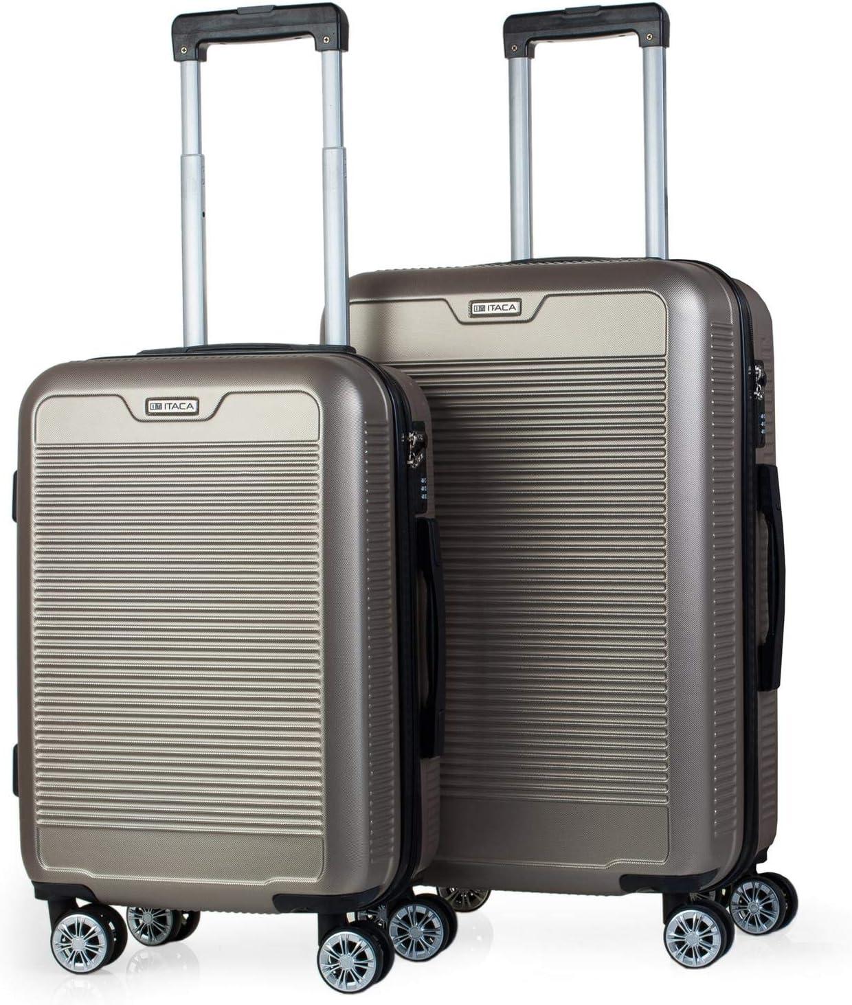 ITACA - Juego Maletas de Viaje Rígidas 4 Ruedas Trolley ABS Lisas. Duras Resistentes y Ligeras. Candado. Pequeña Cabina Ryanair y Mediana Diseño. T72015, Color Dorado